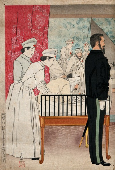 Image from object titled A Japanese military hospital. Coloured woodcut, ca. 1904.