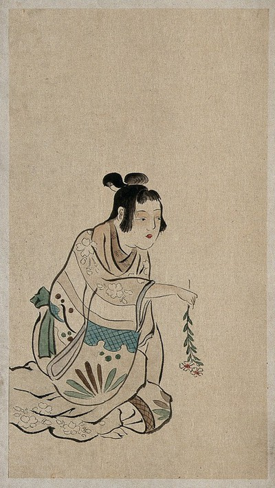 Image from object titled A Japanese woman seated and holding a branch of a flower with the flowers downwards. Watercolour, 18--.