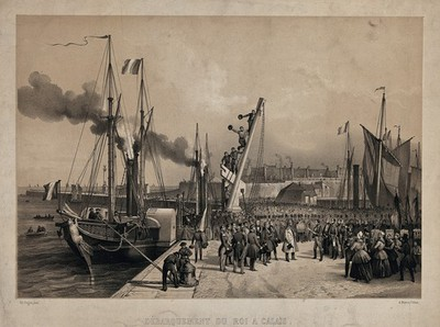 Image from object titled The reception of of King Louis Philippe after his embarkment in the harbour of Calais. Lithograph by A. Mayer and V. Adam after E. Pingret, 1846.
