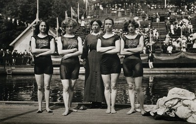 The victorious English 400 m. women's relay swimming team at the Stockholm Olympic Games. Postcard, 1912.
