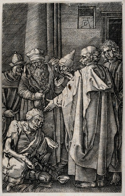 Image from object titled Saints Peter and John healing the lame. Etching after A. Dürer.