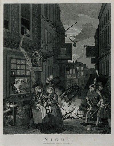 Image from object titled A scene of destruction with an overturned coach, screaming people and a bonfire; representing night. Engraving by T. Cook after W. Hogarth.