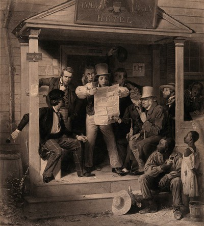 Image from object titled An American man reads from a newspaper with amazement the latest news on the Mexican war, surrounded by an attentive group of men.