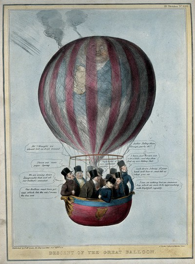 Image from object titled A hot-air balloon with the visage of Daniel O'Connell carrying a basket of conservative ministers. Coloured lithograph by H.B. (John Doyle), 1836.