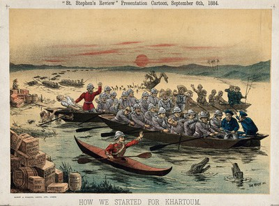 Image from object titled Soldiers dressed for desert battle in boats