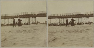 Strand met badgasten; op de achtergrond het Wandelhoofd Wilhelmina in aanbouw