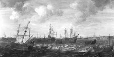 'De Nederlandse haringvloot bezig met het inhalen van de netten, begeleid door buisconvooiers', schilderij door Cornels Beelt, ca 1660