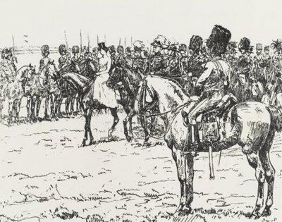 H.M. koningin Wilhelmina inspecteert het Korps Rijdende Artillerie op de Renkumse heide.