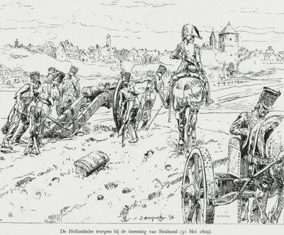 Tekening van de Hollandse troepen bij de inneming van Stralsund.