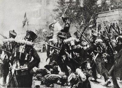 Schilderij van de de gevechten door het IIe (flank)bataljon Grenadiers onder bevel van lkol J.Th. Serraris op de Schaerbeekse Poort in Brussel.