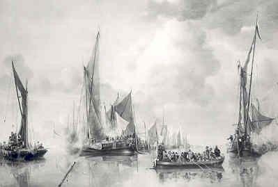 'Begroeting door een vloot binnenschepen van een sloep met waarschijnlijk Frederik Hendrik en zijn zoon Willem onder de ingescheepten'; schilderij door Jan van de Cappelle           1626 - 1679, in 1650