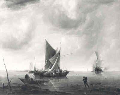 'Schepen voor anker op een kalme zee'; schilderij door Jan van de Cappelle 1626 - 1679