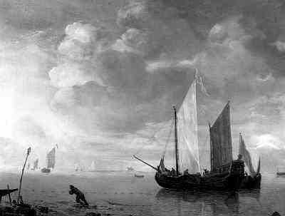 'Kalme zee'; schilderij door Hendrick Jacobsz. Dubbels
