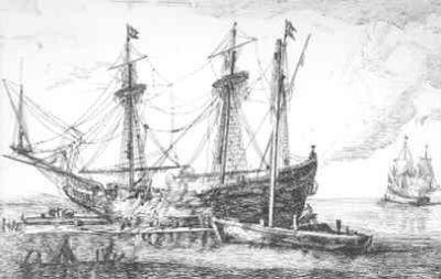 Prent door R. Nooms, alias R. Zeeman, van een schip met stukgeschoten want en varend schip (tafereel uit de Engelse oorlogen?)