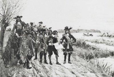 Schilderij met als voorstelling: stadhouder Willem inspecteert de Hollandse Waterlinie.