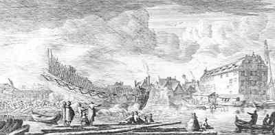 """Ets door Reinier Nooms, genaamd Zeeman, ca. 1650 van """"Het Afloopen Van een Schip"""" op een kleine werf"""