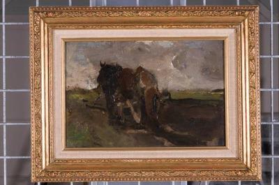 Ploegende boer in Drenthe