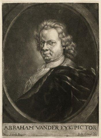 Zelfportret van de schilder Abraham van der Eyk. <br> Mezzotint door Jan de Groot naar het schilderij van Abraham van der Eyk; gesigneerd.; NL-HlmNHA_1477_53008562; Voorhelm Schneevoogt NL-HlmNHA_1477_53008562