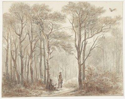"""Twee jagers in het Reigerbos ''Elsbroek""""<br>aquarel in sepiatinten; NL-HlmNHA_53003540_K; Kennemerland NL-HlmNHA_53003540_K"""