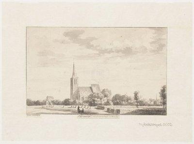 Gezicht op de kerk, vanuit het zuiden. Op de voorgrond een korenveld en korenschoven. 1 topogr. tek.: pen en penseel in grijs l.o., gedeeltelijk afgesneden: [A]: de Haen ad viv           1729 165 x 264 mm;...