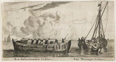Twee platbodems, de Wieringer met spriettuig, de Amsterdammer wordt geboomd. ets; NL-HlmNHA_480_000375_K; Provinciale Atlas - Historieprenten NL-HlmNHA_480_000375_K