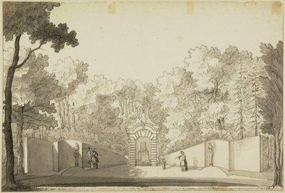 De tuin met watergrot van de buitenplaats Bosch en Hoven. <br> Pen in zwart en grijs, penseel in grijs. <br> Vermoedelijk naar een 18de eeuws voorbeeld.; NL-HlmNHA_53003679_M; Kennemerland NL-HlmNHA_53003679_M