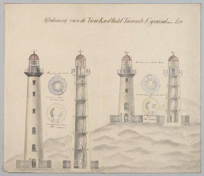 Twee ontwerpen van de twee vuurtorens / kustlichttorens te Egmond aan Zee. <br> 2 tek.: gekleurd; 44 x 51 en 44 x 57 cm; NL-HlmNHA_492_0181_G<br>NL-HlmNHA_492_0182_G; Technische tekeningen...