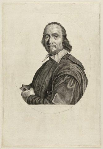 Portret van de Cornelis Hofland, pastoor te Sloten. <br> Gravure door Theodor Matham naar een schilderij van Johannes Cornelisz Verspronck.; NL-HlmNHA_1477_53009839; Voorhelm Schneevoogt NL-HlmNHA_1477_53009839