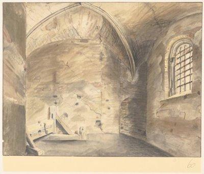 De gevangenis van Floris V op het Muiderslot, ca. 1640-1654. <br> 1 topogr tek.: pen in bruin, penseel in kleuren, zwart krijt zwart krijt, pen in bruin, penseel in kleur           verso m.o. pen in bruin: P.D. Laar 300 x...
