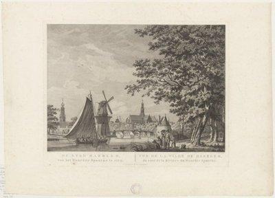 <i> De Stad Haerlem, van het Noorder Spaarne te zien</i> <br> Het Spaarne bij de Friese Varkenmarkt, ziende naar het zuiden met v.l.n.r. de Bakenesserkerk, molen           de Adriaan, de Catharijnebrug, de Grote Kerk en de...