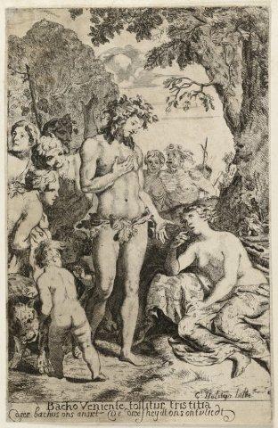 Bacchus troost Ariadne. <br> Bacchus, omringd met zijn gevolg, troost Ariadne, die op het eiland Naxos door Theseus is verlaten. <br> Ets door Cornelis Holsteyn naar           eigen ontwerptekening; gesigneerd.;...