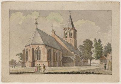 De kerk van Hilversum, gezien vanuit het noordoosten. 1 topografische tekening: pen in grijs, penseel in kleur blad 101 x 147 mm.; vrst. 81 x 128 mm.; NL-HlmNHA_359_005670_K; Provinciale Atlas - Prenten en Tekeningen...