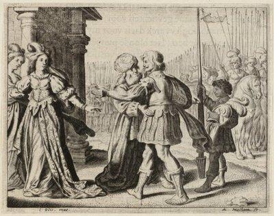 Illustratie uit Jacob Cats, Trouringh uitgegeven door Hendrick van Esch, Dordrecht 1637. <br> Gravure en ets door Adriaen Matham naar ontwerptekening van Jan           Olis.; NL-HlmNHA_1477_53009728; Voorhelm Schneevoogt...