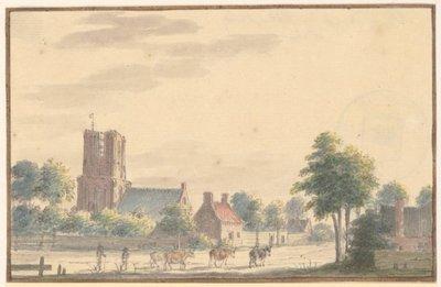 De kerk en enige huizen, vanuit het zuiden, 1672. Op de voorgrond drijven twee mannen een viertal koeien over de weg. 1 topogr. tek.: pen in grijs, penseel in kleuren. z.s. 100 x           154 mm; NL-HlmNHA_359_002827_K;...