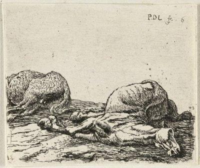 Twee dode paarden. <br> Zesde prent van een zesdelige, genummerde prentenserie met voorstellingen van paarden. <br> Ets door Pieter van Laer; gemonogrammeerd;           rechtsboven genummerd '6'.; NL-HlmNHA_1477_53009545;...