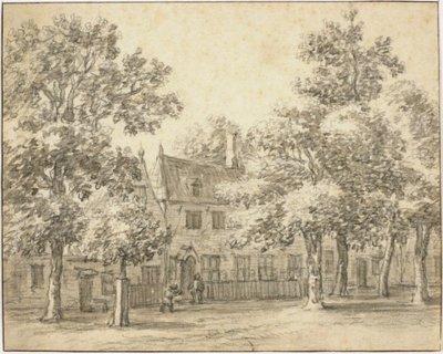 """Gegevens cataloguskaartje: Herberg """"Rustenburg"""", (later """"de Ooievaar""""), zuidoostzijde. Verso tekst (in potlood): """"Het Dronkenmans Huisje buiten Haarlem [voorgaande doorgehaald] B           Gaal 1690"""" Tekening met zwart..."""