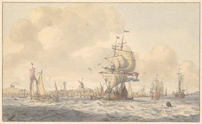 Zeilschepen op de Waddenzee voor de kust van Oost-Vlieland. Op de achtergrond huizen, een baak en een molen, links een vuurbaken, 17de of vroeg 18de eeuw. 1 topogr. tek.: grafiet,           pen in bruin, penseel in kleuren...