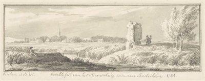 <i>Overblijfsel van het Kronenburg, ziende naar Kastrikum, 1744</i><br<Croonenburg(ruïne), met gezicht op het dorp<br>Teekening in O.I.           inkt<br>; NL-HlmNHA_53004549_K; Kennemerland NL-HlmNHA_53004549_K
