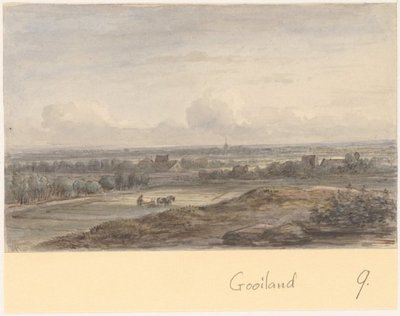 Vergezicht in het Gooiland, ca. 1830. 1 topogr. tek.: pen in bruin, aquarel. l.o.: JvR 123 x 195 mm; NL-HlmNHA_359_001119_K; Provinciale Atlas - Prenten en Tekeningen NL-HlmNHA_359_001119_K