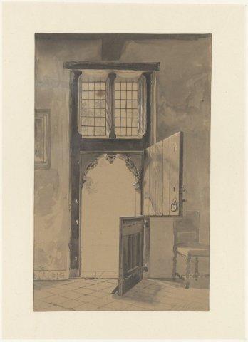 """Velserend"", deur in achterhuis, van binnen. <br> Tekening in OI inkt.; NL-HlmNHA_53004336_M; Kennemerland NL-HlmNHA_53004336_M"
