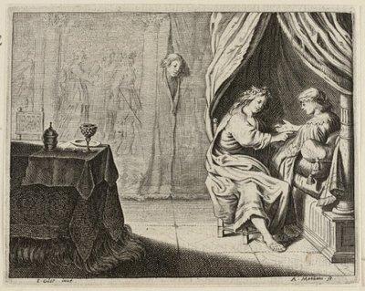 Twee vrouwen in een bedstee die bespioneerd worden. <br> Illustratie uit Jacob Cats, Trouringh uitgegeven door Hendrick van Esch, Dordrecht 1637. <br> Prent uit een           serie van vijf ongenummerde prenten; gesigneerd...