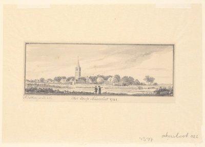 Image from object titled Akersloot<br> Gezicht op het dorp in 1744. Op de achtergrond in het midden de toren van de kerk. <br> 1 topogr. tek.: pen en penseel in grijs pen en penseel in grijs           l.o. buiten afb.: A. de Haen ad viv. del.; NL-HlmNHA_359_004377_K; Provinciale Atlas - Prenten en Tekeningen NL-HlmNHA_359_004377_K