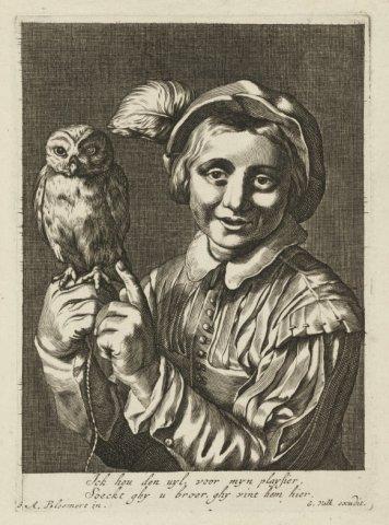 Allegorische voorstelling van een jongen met een uil op de hand.<br> Gravure en ets naar ontwerptekening van Abraham Bloemaert, uitgegeven door Gerard Valck, met Nederlands           gedicht, gesigneerd, linksonder...