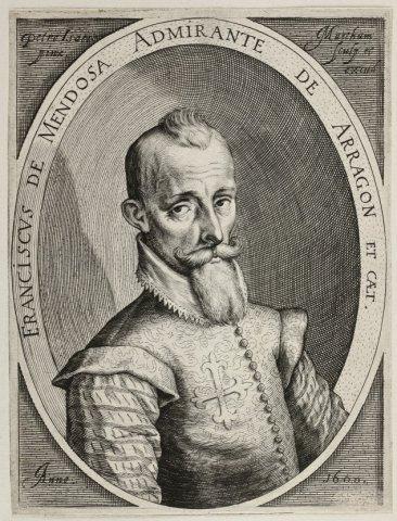 Portret van Francisco Hurtado de Mendoza, admiraal van Aragon, Spaans veldheer in de 80-jarige oorlog. Buste naar rechts, een kruis op de borst, in ovaal met randschrift.           <br> Gravure door Jacob Matham naar een...
