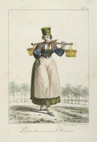 Laitière des environs d'Harlem : [= Melkmeisje uit de omgeving van Haarlem] [afbeelding] / [door] H. Lecomte; F. Delpech. - 1819. - 1 prent op papier: kleurenlitho; afb. 19,5 x           13,6 cm; blad 30,8 x 22,7 cm;...