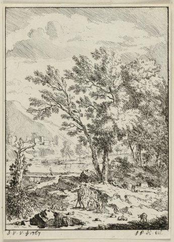 Landschap met herderfamilie.<br> Boomrijk landschap met een familie tussen schapen. Een berg op de achtergrond.<br> Ets door Jan Jansz. van der Vinne naar           ontwerptekening van Justus van Huysum (I), gesigneerd en...