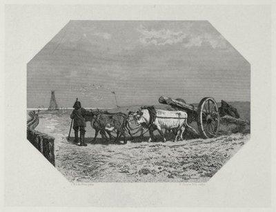 Twee mannen voeren over het strand palen aan op een kar met een vierspan ossen. In de verte links een stellage die de palen de grond in heidt.; NL-HlmNHA_480_000404_K; Provinciale Atlas - Historieprenten...