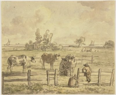 "Weiland aan het Haarlemmermeer in buitenplaats ""Treslong""<br> aquarel in groen- en bruintinten.; NL-HlmNHA_53003531_K; Kennemerland NL-HlmNHA_53003531_K"