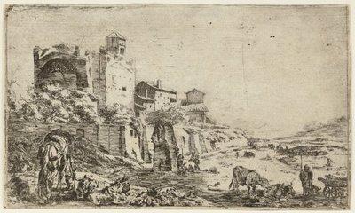Ruïnes van de tempel van Venus en Roma. <br> Op de voorgrond herders en een kudde dieren. <br> Ets door Pieter van Laer.; NL-HlmNHA_1477_53009552; Voorhelm Schneevoogt NL-HlmNHA_1477_53009552