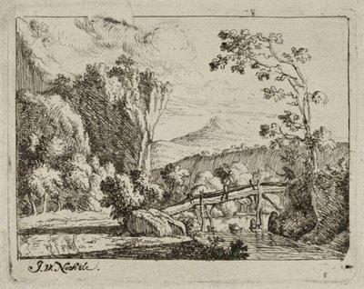 Een Italiaans landschap met een rivier met een houten brug. <br> Ets door Jan van Nickelen naar eigen ontwerptekening, linksonder gesigneerd.; NL-HlmNHA_1477_53010912; Voorhelm Schneevoogt NL-HlmNHA_1477_53010912